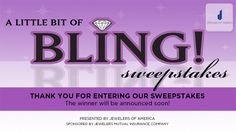 """Enter to win """"A Little Bit of Bling"""" from Jewelers of America and you could win a $500 jewelry gift card redeemable at the Jewelers of America-member jeweler of your choice."""
