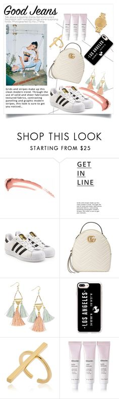 """""""Untitled #778"""" by neflaluna ❤ liked on Polyvore featuring Lipsy, adidas Originals, Gucci, NAKAMOL, Casetify, Schield Collection, Glossier, Nixon and distresseddenim"""