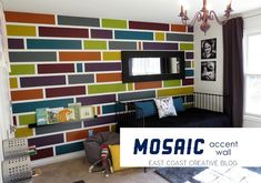 Kid's Bedroom Makeover: How to Paint a Mosaic Accent Wall and get CLEAN CRISP lines every time!