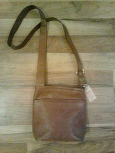 Natural color leather bag, vintage , 20x25cm