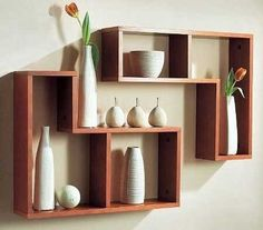 The newest catalog of corner wall shelves designs for modern home interior wall decoration latest trends in wooden wall shelf design as home interior decor trends in Indian houses Wooden Shelf Design, Wall Shelves Design, Wooden Decor, Wooden Floating Shelves, Wooden Wall Shelves, Wooden Walls, Corner Wall Shelves, Decoration, Living Room Designs
