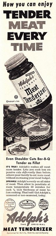 1953 Ad, Adolph's Meat Tenderizer