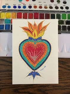 Sagrada corazon / Sacred Heart completed with Sennelier aquarelle and Kuretake Gansai Tambi Starry Colors palette