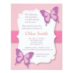 Shop Elegant Purple butterfly baby shower Invitation created by RustyDoodle. Baby Shower Invites For Girl, Baby Shower Fun, Girl Shower, Baby Shower Themes, Baby Shower Invitations, Shower Ideas, Custom Invitations, Butterfly Baby Shower, Butterfly Party