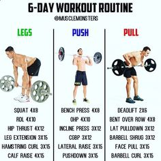 6-Day Muscle Building Workout By @musclemonsters _ Ill be the first to admit you dont have to be in the gym 6 days per week to make serious gains. That said however a lot of us actually LOVE being in the gym and will find any excuse to be in there more frequently. If thats you then a Legs/Push/Pull workout like the one above is perfect! Not only will you be able to fit a good amount of volume into each session but youll hit every muscle group 2x per week! _ Heres a sample schedule of t...