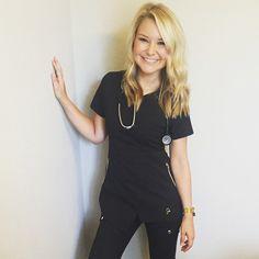 Modern Scrubs and Lab Coats for Men and Women by Jaanuu Nursing Goals, Medical Uniforms, Girl Humor, Scrubs, Runway Fashion, Beautiful Women, Tunic Tops, Funny Girls, V Neck