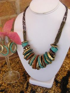Turquoise, Gold, Silver, Copper & Patinaed Necklace & Earrings - No Fees $26.99