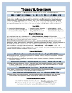 11 sample resume for project manager construction riez sample resumes - Teacher Sample Resume