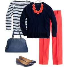 """""""coral necklace with navy"""" by kitkat-cda on Polyvore"""