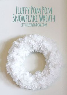 DIY Fluffy Snowflake Pom Pom Wreath | littleredwindow.com  | Make a soft fluffy and easy snowflake wreath from pom poms!
