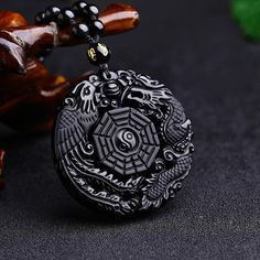 Natural Obsidian Dragon and Phoenix Necklace Pendant - Men Women Jewelry Phoenix Jewelry, Phoenix Necklace, Lucky Charm, Shape Patterns, Beanies, Pocket Watch, Darkness, Women Jewelry, Dragon