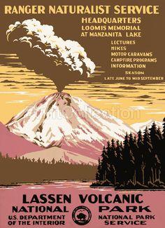 lassen volcanic national park   vintage poster