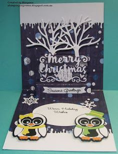 """Maryann """"Ironlady"""" using the Pop it Ups Merry Christmas, All Seasons Tree and Chilly the Penguin die sets by Karen Burniston for Elizabeth Craft Designs. - stamping on greens: Word Play Challenge"""