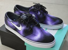 These custom black canvas Nike Zoom Stefan Janoski skate shoes features my whimsical hand painted purple smoke design. Very unique art shoes. Price includes the shoes plus the artwork. Various sizes a