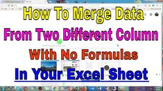 This video will teach you to merge data from two different column in a very easy way, no need of formula.Hope it helps. Clear Browsing Data, Teaching, Easy, Learning, Education, Teaching Manners