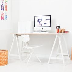 DIY modern furniture for home office scandi scandinavian style trestle legs Home Office, Office Desk, Small Office, Workspace Inspiration, Interior Inspiration, Interior Stylist, Home Interior Design, Modern Interior, Affordable Furniture
