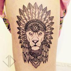 Angry Lion Tattoo On Thigh photo - 1 Lion Tattoo On Thigh, Lion Head Tattoos, Dope Tattoos, Leg Tattoos, Body Art Tattoos, Tatoos, Indian Headdress Tattoo, Traditional Lion Tattoo, Bohemian Tattoo