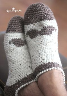 Crochet Mustache Slipper Socks for Men - free pattern at Repeat Crafter Me.