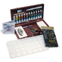 This Painting Box Sets by Royal & Langnickel, highlighting their Aqualon brushes, is great for gift giving or outfitting any artist. The art set features a flip-up brush organizer to keep brushes in great shape; all supplies are stored in a convenient wooden storage box with handle for ease of use, travel and storage. #giftideas