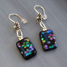 Dichroic Fused Glass Earrings Rainbow Cherry Blossom by GlassCat, $25.00 Fused Glass Jewelry, Glass Earrings, Glass Pendants, Clip On Earrings, Mystic Fire Topaz, Jewelry Ideas, Jewelry Design, Rainbow Flowers, Silver Bow