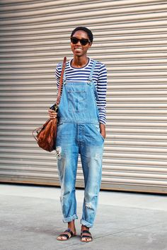 a striped shirt under overalls looks SO cute and whimsical. the sandals are obviously more for summer, but add ankle boots or heels to make this work for winter.