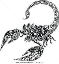 Scorpio, black & white - stock vector