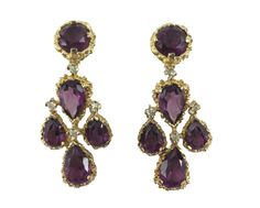 Panetta purple chandelier earrings with diamante accents