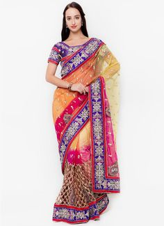 Buy indian saree online. We offer huge collection of designer saree. Buy this net multi colour embroidered and patch border work designer traditional saree.