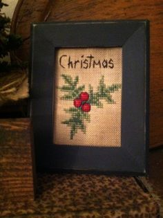 Early Christmas Holly Sampler ~ Cross Stitch Tuckaway ~Primitive #NaivePrimitive