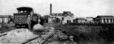Central Arcadia, Vieques, Puerto Rico. Foto de principios el siglo 20 (1907-1912). Tambien visible la locomotora #1, una Baldwin 2-4-0 comprada en 1908.