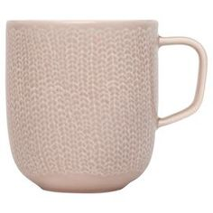 """Crafted of porcelain with a subtle braid-inspired design, this artful mug perfectly complements your favorite artisan roast.  Product: MugConstruction Material: Vitro-porcelainColor: Old roseFeatures: 12 Ounce capacityDimensions: 3.4"""" Diameter"""