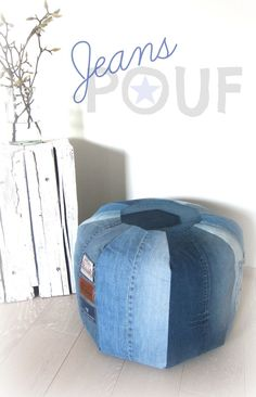 Denim pouf-great seat for children, who will drape their bodies across it, lie back against it, or even sit on it!!!