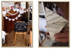 Love the idea of using old sheet music to make hanging decorations! People are so creative!
