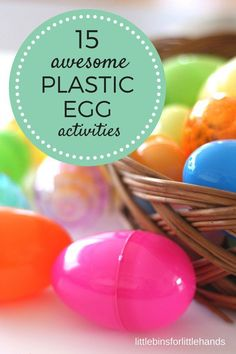 Easter plastic egg activities including Easter science, sensory, math, STEM and early learning activities