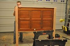 How to turn a door into a headboard