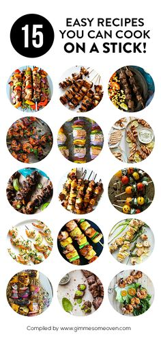 15 Recipes You Can Cook On A Stick -- all kinds of delicious skewers you can pop on the grill! | gimmesomeoven.com