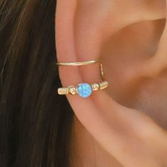 Cartilage Cuff Blue Opal Ear Cuff Ear Cuff Fake by Benittamoko