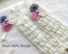 Gray and Vintage Pink Lace Petti Romper by HarperSophiaBoutique
