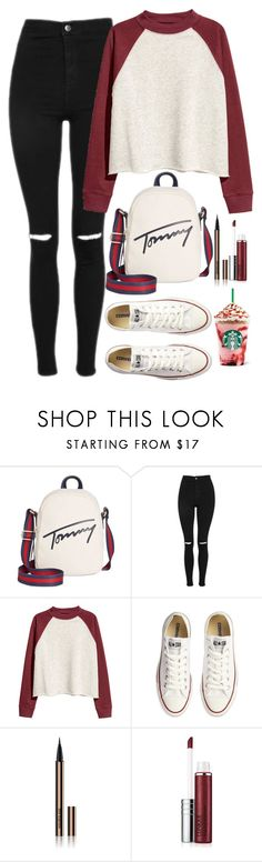"""Untitled #1654"" by mihai-theodora ❤ liked on Polyvore featuring Tommy Hilfiger, Topshop, Converse, Hourglass Cosmetics and Clinique"