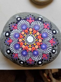 Gran Mandala piedra pintado Rock punto por P4MirandaPitrone