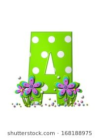 "The letter A, in the alphabet set ""Dotted Swiss"", is neon green with large white dots. Letter is as are the flower clustered around base of letter. Pink And Blue Flowers, Bubble Letters, Large White, Neon Green, Royalty Free Stock Photos, Polka Dots, Base, Fancy, Lettering"