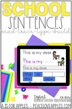Practice reading, tracing, typing, and sentence building with these digital, paperless school-themed sight word sentences! These can be used on the Seesaw app.