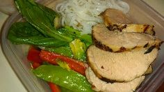 Teriyaki pork tenderloin ¦ Friend That Cooks blog    Teriyaki, ginger, sesame oil marinated pork tenderloin pan seared and roasted, sliced and served with steamed rice noodles with stirfried baby bok choy, snow peas and sweet red peppers. Weekly Meal Prep from Friend That Cooks personal chefs help busy moms by preparing healthy, easy to reheat meals in their homes each week for an affordable hourly rate.  www.friendthatcooks.com