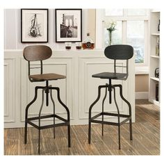 • Metal and wood<br>• Faux leather<br>• Adjustable height with footrest<br><br>The Dylan Industrial Adjustable Wooden Seat Barstool from Furniture of America achieves a charming rustic design. The stool has an adjustable height and swivel feature to accommodate your needs.