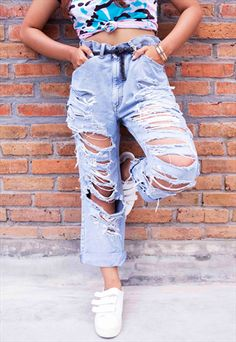 WANT DEM' ALL CUSTOM RIPPED LEE JEANS-CUTE MISTAKE