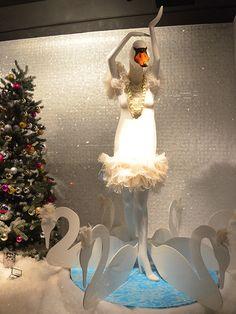 Christmas Window Display Toronto Holt's window with a Swan Lake theme