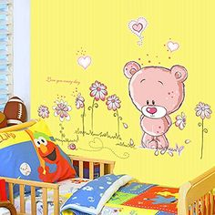 Pink Teddy Bear Wall Stickers Children Room Home Decor Baby Adhesive for Kids Room * To view further for this item, visit the image link. (Note:Amazon affiliate link)