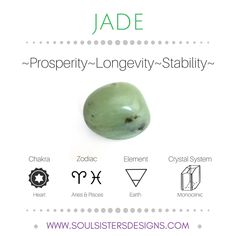 Metaphysical Healing Properties of Jade, including associated Chakra, Zodiac and Element, along with Crystal System/Lattice to assist you in setting up a Crystal Grid. Go to https:/stoulsistersdesigns.com to learn more!