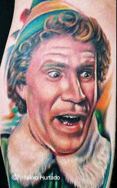 ok, i would never tattoo Will Ferrell on my body, but MAD PROPS to the artist who captured Buddy the Elf's Christmas joy, and whoever got this permanently inked on their body. that takes balls....Christmas Balls.