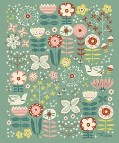 by Paula McGloin Studio: Sweet Meadow Art Print Surface Pattern Design, Pattern Art, Textures Patterns, Print Patterns, Stoff Design, Scandinavian Folk Art, Scandinavian Pattern, Floral Prints, Art Prints